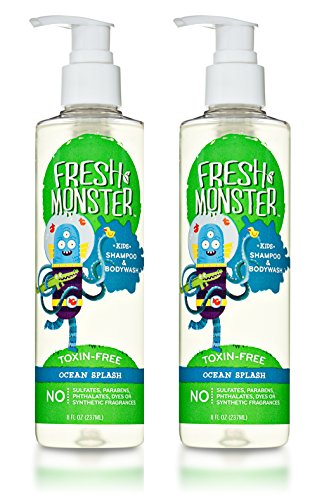 Delight Bath And Shower Gel - Fresh Monster Toxin-free Hypoallergenic Kids Shampoo & Body Wash, Ocean Splash, 2 Count