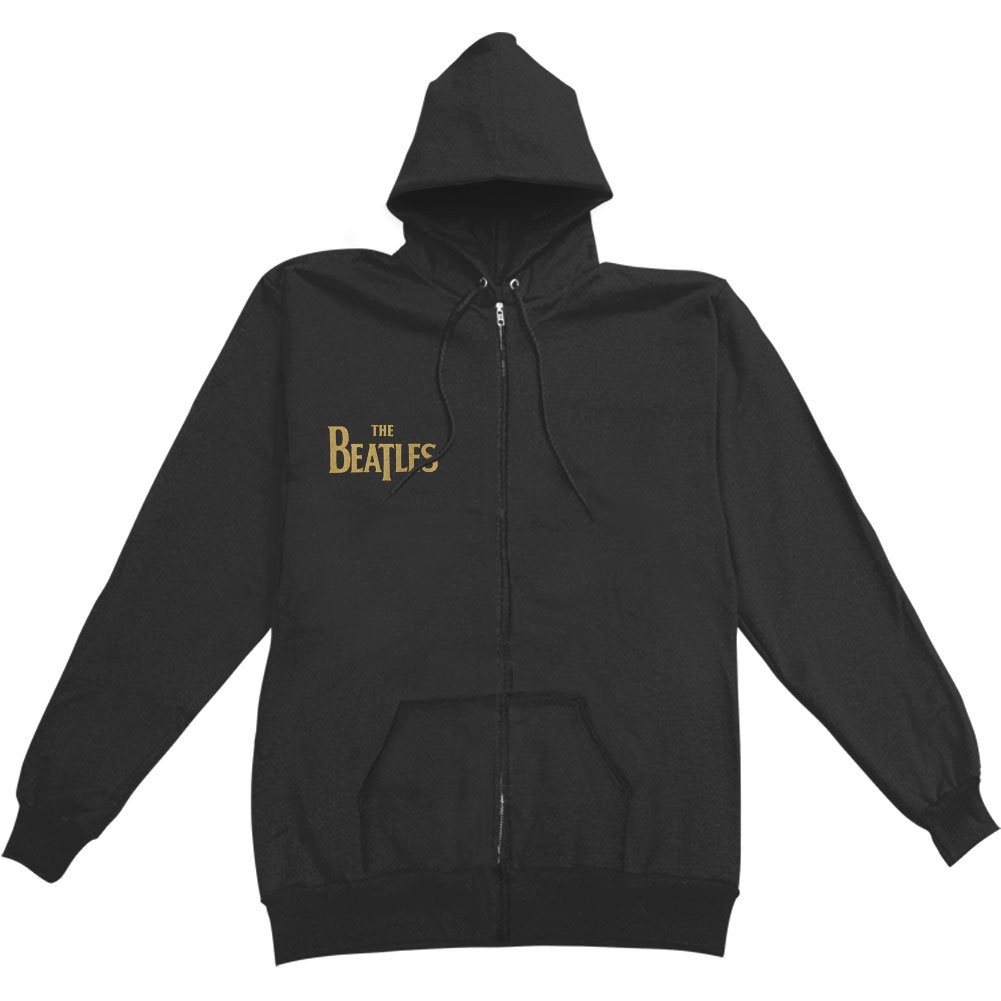 Beatles Men's Gold Sgt Peppers Logo Zippered Hooded Sweatshirt Black BRAVADO INTERNATIONAL
