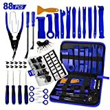 AUTOXEL 88 Pcs Trim Removal Tool,Auto Push Pin Bumper Retainer Clip Set Fastener Terminal Remover Tool Adhesive Cable Clips Pry Kit Car Panel Radio Removal Auto Clip Pliers, Blue (Color: Blue, Tamaño: Blue)