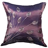 ThaiElephant Charming Lotus Bouquet -18x18 Inches, Embroidered Charming Bouquet of Pretty Lotus on Silk Decorative Pillow Cover. (Purple)
