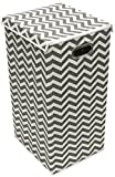 Sorbus Laundry Hamper Sorter with Lid Closure – Foldable Hamper, Detachable Lid, Portable Built-In Handles for Easy Transport – Single (Printed Chevron Beige Interior)