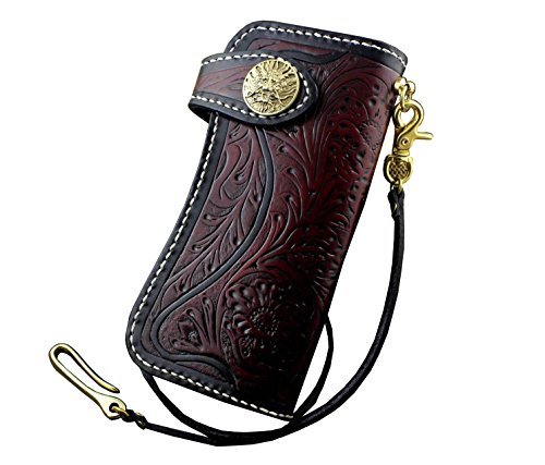 (Dragon Vintage Biker Tooled Carved Tatto Leather Bifold Long Chain Wallet Purse)