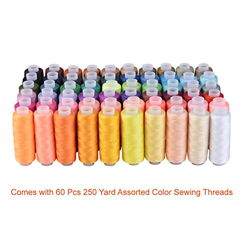 Paxcoo 60 Assorted Color Polyester Sewing Thread Spools 250 Yards Each
