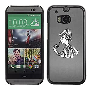 Paccase / SLIM PC / Aliminium Casa Carcasa Funda Case Cover para - Popular Pipe Smoke Man Detective Rain Coat Art Drawing - HTC One M8