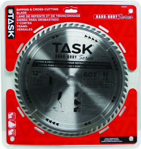 Task Tools T22414 12-Inch Hard Body Carbide Saw Blade, Ripping and Cross Cutting with 1 -Inch Arbor by Task Tools