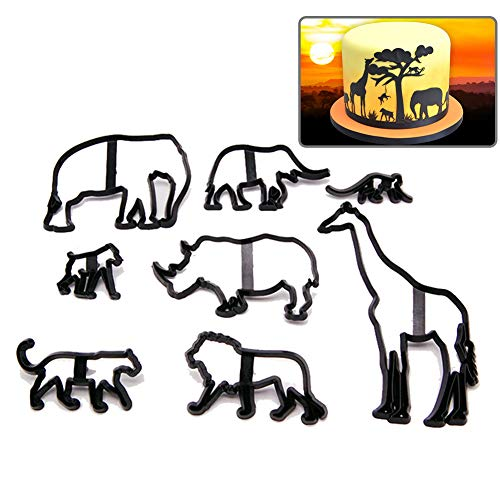 8pcs Animal Silhouette Biscuit/Cookie Cutters Set Cake Mold for Fondant Cake Decorating Modelling Baking Cookies - Leopard Elephant Giraffe Lion - Plastic