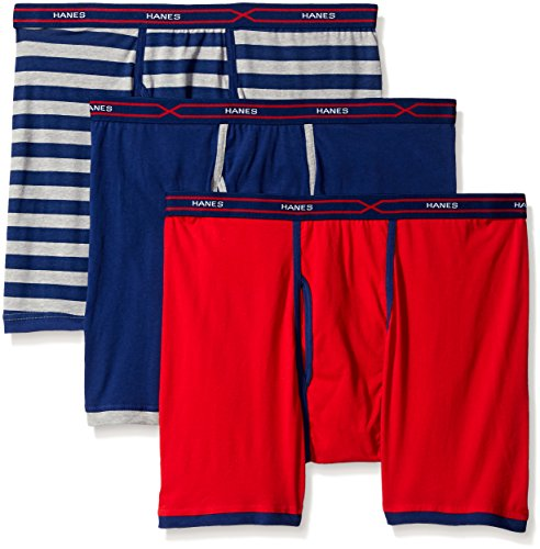 Hanes Men's 3-Pack X-Temp Active Cool Boxer Brief, Assorted, Large ()