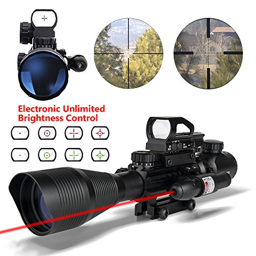 Ar15 Scopes 4-12x50EG Dual Illuminated Tactical Rifle Scope with Holographic 4 Reticle Red and Green Dot Refle Sight and Red Laser Sight for 22&11mm Weaver/Picatinny Rail Mount (12 Month Warranty)