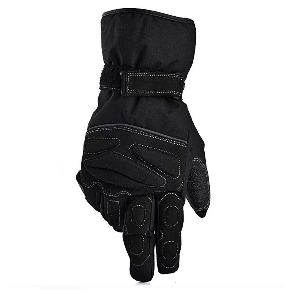 KLEDDP Wasserdichte Und KälteBesteändige Motorradhandschuhe Winterreiten Warm Und Winddicht Anti-Skid Ritterhandschuhe Männer, Schwarz Handschuhe für Männer