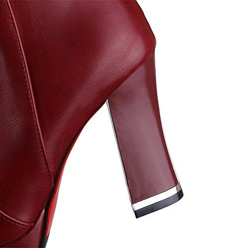 AllhqFashion Mujer Sólido Puntera Redonda Sintético Botas Rojo
