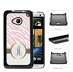 Customized Pink and White Zebra Pattern Animal Print with Gray and White Vertical Stripes on Bottom and Gray Round Monogram in Center Outlined in Gold Hard Plastic Snap On Cell Phone Case HTC One M7