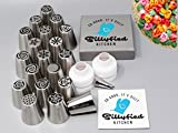 DELUXE Cake Decorating Kit - 19 Professional Russian Piping Tips - with 2 Silicone Icing Bags, Leaf Icing Tip - EXTRA LARGE Stainless Steel Flower Tips - 44 Pieces