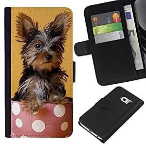 EJOY---La carpeta del tirón la caja de cuero de alta calidad de la PU Caso protector / Samsung Galaxy S6 EDGE / --Yorkshire Terrier de mojón Raza