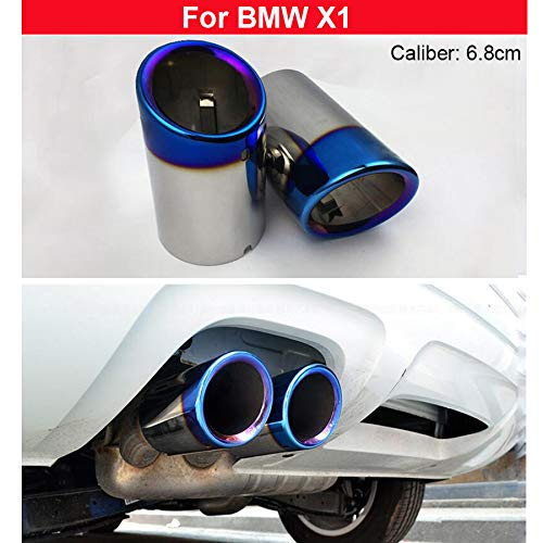 - 2x Blue Stainless Steel Exhaust Muffler Tail Pipe Tailpipe For BMW X1 2010 2011 2012 2013 2014 2015 2016 2017 2018 2019