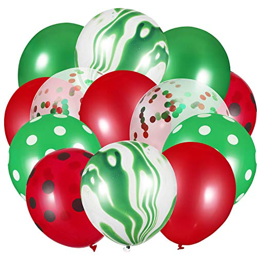 60 Pieces 12 Inch Confetti Balloons Set Agate Latex Balloons Colorful Balloons for Jungle Office Festival Baby Shower Wedding Birthday Party Supplies (Christmas Red, Green)