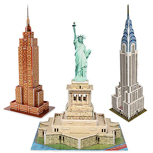 (CubicFun 3D New York Puzzles Small Cityline Building Paper Craft Model Kits Collection Toys for Adults and Teens, Statue of Liberty, Empire State Building, and Chrysler Building)