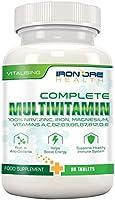 Complete Multivitamin – Il migliore prodotto per un'ottima salute – Vitalità, sostegno al sistema immunitario, Zinco, Ferro, Magnesio, 100% RDA di A C B2 B3 B6 B7 B12 D E per donne e uomini - 90 Tavolette – Ingredienti della migliore qualità