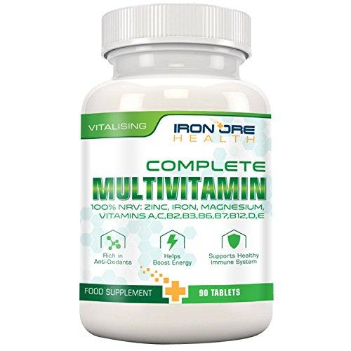 Complete Multivitamin - Die besten Vitamine, die man nur 1 x am Tag nehmen muss: für optimale Gesundheit, Vitalität, Unterstützung des Immunsystems, Zink, Eisen, Magnesium, 100% ETD an A C B2 B3 B6 B7 B12 D E für Männer & Frauen - 90 Tabletten - Qualitativ hochwertige Inhaltsstoffe