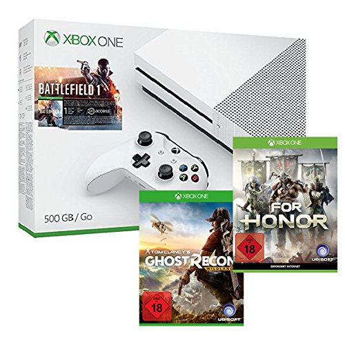 Xbox One S 500 GB Konsole - Battlefield 1 Bundle + Tom Clancy's: Ghost Recon Wildlands + For Honor
