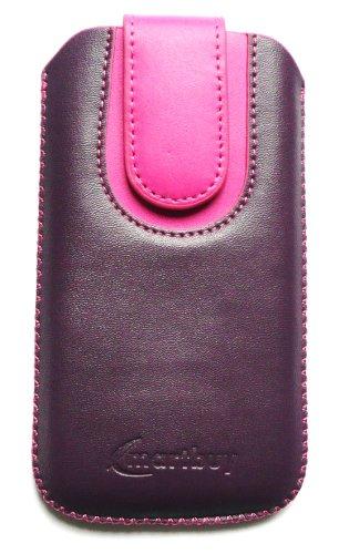 Emartbuy® Violet / Rose Chaud Prime Pu Cuir À Glissière Poche / Étui / Housse / Sleeve / Holder (Taille X-Large) Avec Le Mécanisme De L'Étiquette De Traction Adapté Pour Apple Iphone 5c