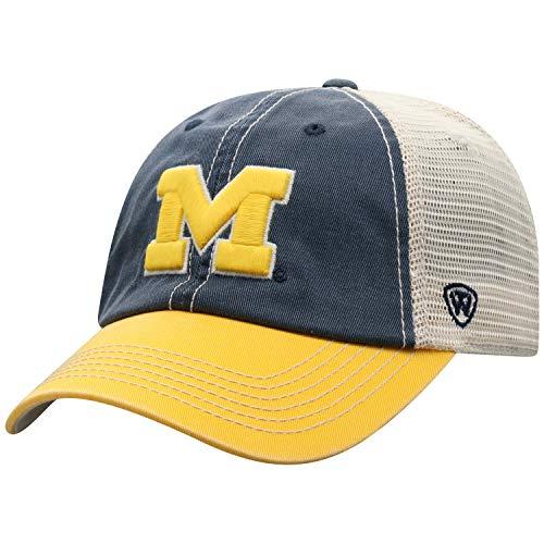 Top of the World Michigan Wolverines Men's Mesh-Back Hat Icon, Navy, Adjustable (Michigan Wolverines Ncaa Baseball)