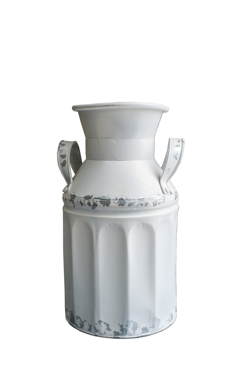 French Style Country Rustic Farmhouse Galvanized Milk Can Vase for Home Decoration
