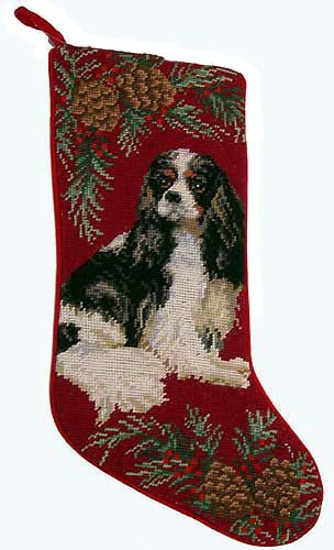 Cavalier King Charles Christmas Stocking Tri Color 100% Wool Hand-Stiched Needlpoint: Precious
