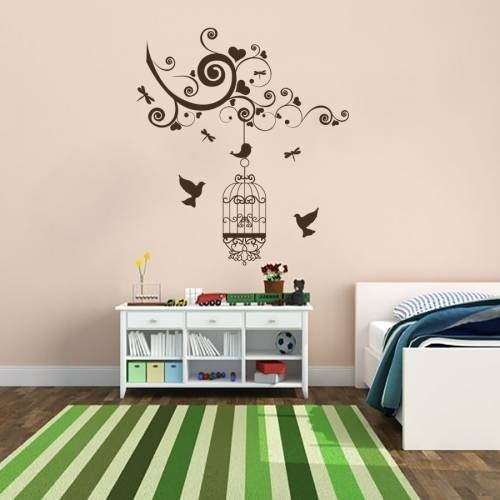 Wall Decals Caged Birds Birdcage Cages Birds Branch Bird Nature Living Any Room Bedroom Kitchen Vinyl Decal Sticker Home Decor ML179 (20x18)