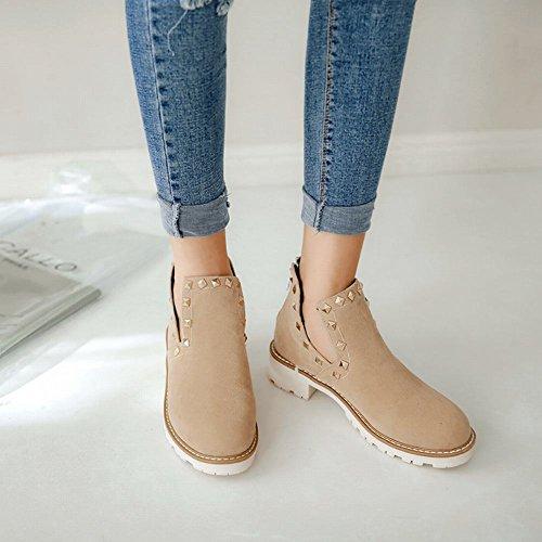 Mee Shoes Women's Chic Rivet Low Heel Zip Ankle Boots Beige Ze1Ru53Ac