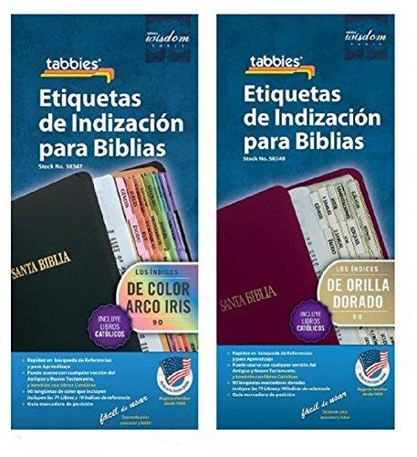 Deluxe Spanish Bible Tab Set Gold + Rainbow Tabs Set & New Testaments