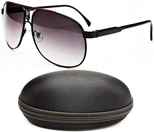 D1044-CC Designer Eyewear Aviator Sunglasses (589 Black/Red, - Shades Police