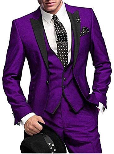 One Button 3 Pieces Purple Wedding Suits Notch Lapel Men Suits Groom Tuxedos Purple 38 chest / 32 ()