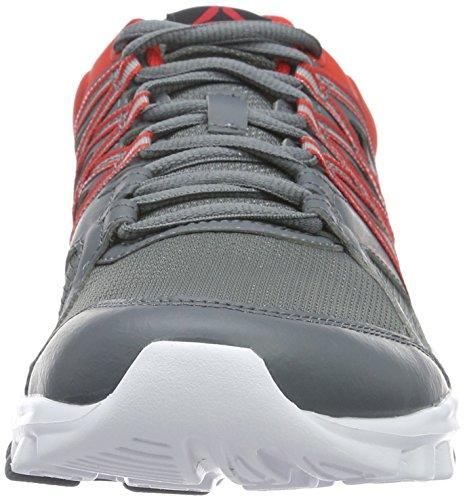 Reebok Yourflex Trainer 8.0, Zapatillas Deportivas para Interior para Hombre Gris (Alloy/Riot Red/White)