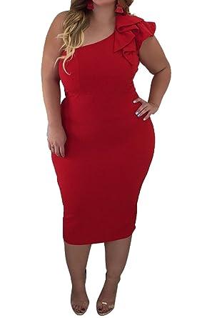 Women\'s Ruffle One Shoulder Sleeveless Plus Size Bodycon Maxi Dress ...