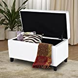 Giantex 33.5'' Rectangular Storage Ottoman Bench with Hinged Lid PU leather Tufted Footstool Organizer Storage Chest Bed Bench, White