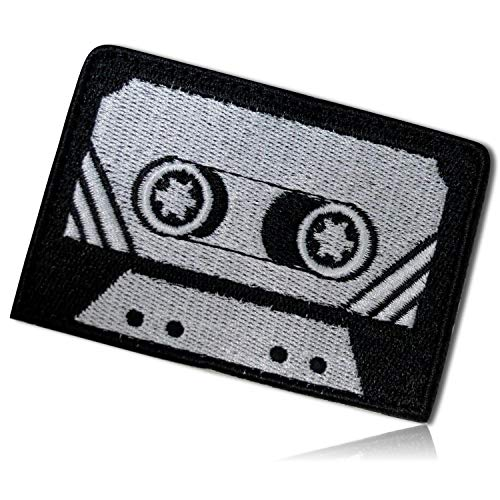 (Vintage Retro Old 1990's Cassette Tape Record Music Songs Audio Record Vinyl Compact Portable Stereo Track Listen Video Taped Hook & Loop Fastener Patch [ 3.25