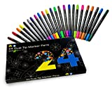 24 Dual tip watercolor art marker pens for kids and adult coloring books. Teacher supplies, set of double sided art pens, art supplies, back to school supplies. 24 color office stationery pen set.