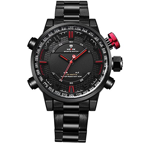 VOEONS Men's Black Stainless Steel Classic Watch Waterproof Wrist Watches for Men by VOEONS (Image #7)