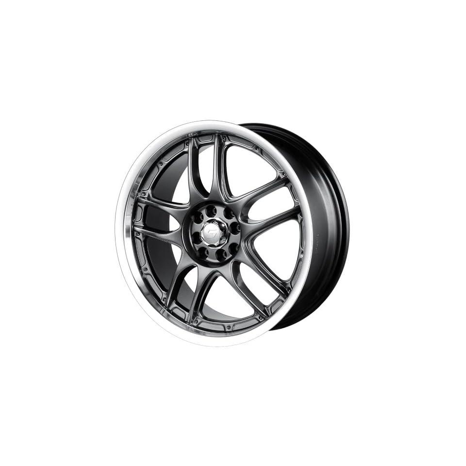 17x7 Sacchi S55 (255) (Hyper Black w/ Machined Lip) Wheels/Rims 4x100/114.3 (255 7701HB) Automotive