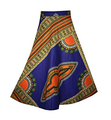 (Decoraapparel Women Long Wrap Around Skirt African Dashiki Vintage Ankara Maxi Beach Cover up One Size (Blue Orange))