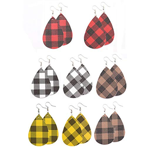 8 Pair Faux Leather Earrings for Women Plaid Print Handmade DIY Lightweight Teardrop Dangle Earrings for Girls