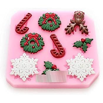 Anyana Molde de silicona de Creative pastel navidad que adorna el molde fondnt DIY