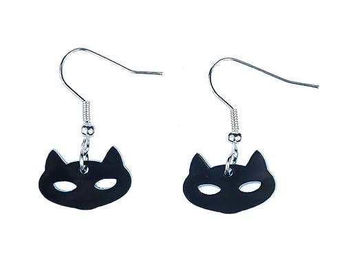 Cat pendientes Katzenkopf Miniblings Gatos Gatos cabeza pendientes schwz vidrio acrílico: Amazon.es: Joyería