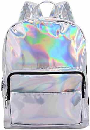 91366b48f43f Orita Women Hologram Holographic PU Shoulder Bag Satchel Backpack School Bag (Silver)