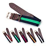 CIVO Military Swiss Army Style Leather and Nylon Watch Band Strap Replacement 18mm 20mm with Top Spring Bar and Spring Bars Bonus