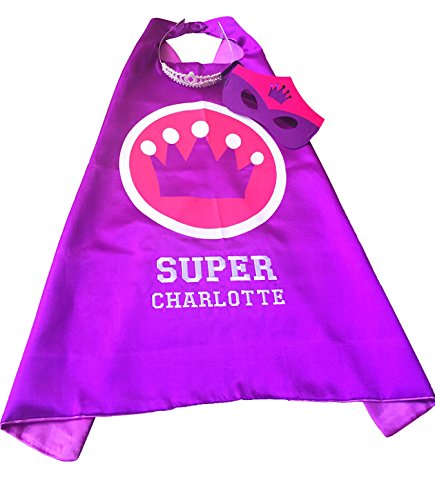 Personalized Princess Superhero Embroidered Cape, Tiara, and Mask Set by Thimblef (Purple) -