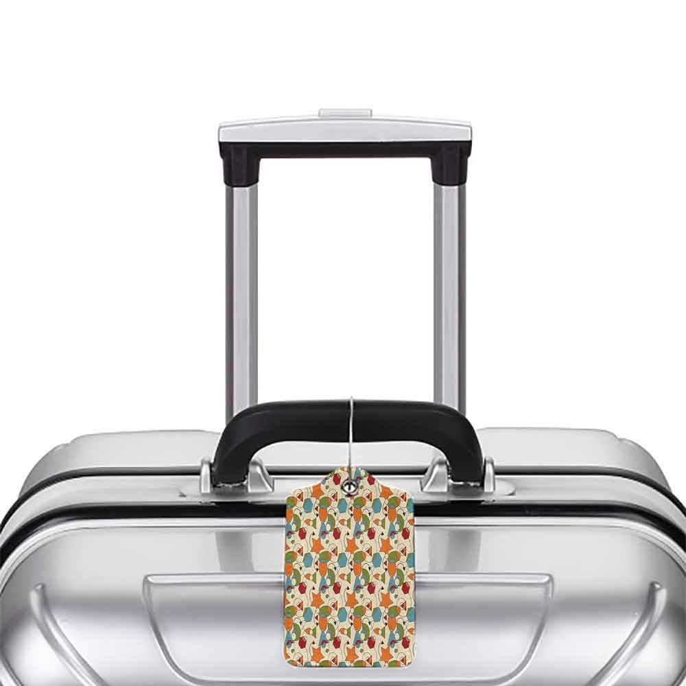 Soft luggage tag Colorful Geometric Shapes Stars Triangles Hexagons with Swirls Arrows Abstract Composition Bendable Multicolor W2.7 x L4.6