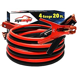 EPAuto Jumper Cable 4 Gauge 20 Foot Heavy Duty Battery Booster with Travel Bag and Safety Gloves