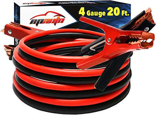 EPAuto 4 Gauge x 20 Ft 500A Heavy Duty Booster Jumper Cables with Travel Bag and Safety Gloves (4 AWG x 20 Feet)
