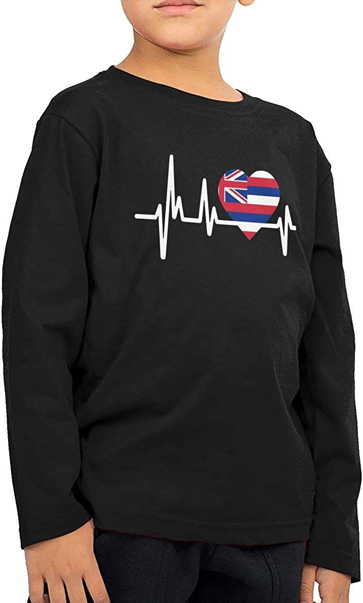 Hawaii Heartbeat Flag Infant Kids O-Neck Long Sleeve Shirt Tee Jersey for Toddlers